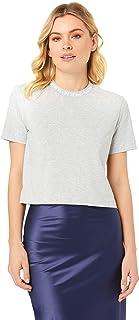 Calvin Klein Jeans Women's Neck Logo Modern Straight Crop Tee, Light Grey Heather, L