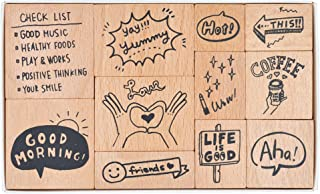 MissOrange『木製ゴム印セット』英語 クリエイティブスタンプセット クラフトカード スクラップブッキング 手帳用 11個セットM-44