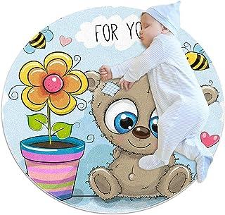 Björn med blomma, barn rund matta polyester överkast matta mjuk pedagogisk tvättbar matta barnkammare tipi tält lekmatta