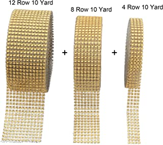 12 Row 10 Yard,8 Row 10 Yard,4 Row 10 Yard Gold Diamond Rhinestone Mesh Ribbon Bling Bling Wrap Bulk for Wedding Cakes, Birthday Decorations, Baby Shower Events,Party Supplies, Arts (Gold)