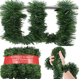 WDSF Non-Lit 50 FT Christmas Green Garlands for Christmas Decorations
