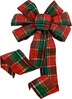GiftWrap Etc. Green Red Plaid Christmas Bow - 10