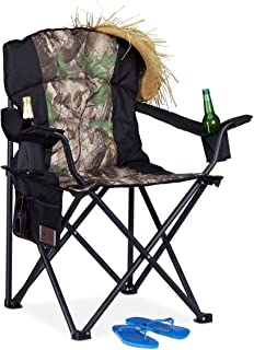 Relaxdays, Negro-Verde, Silla Plegable Camping y Pesca con 2 Posavasos y Bolsillo, Acero-Poliéster, 103 x 92,5 x 60 cm