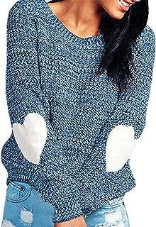SDHEIJKY Womens Stylish Long Love Pattern Splice Sleeve Pullover Sweater