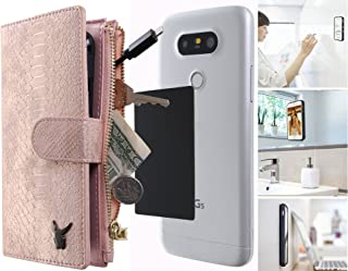 Anti-Gravity Wallet Case 4.7 inches, Luxury [Dual Wallet] Cow Leather [Card & Coin Slot] [Stick on Wall] Detachable Coin Wallet Flip Case Cover for All Smart Phones Under 4.7 (Rose Gold Snake Skin)