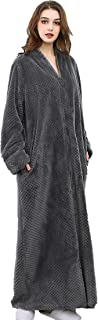 Admireme Women Full Length Bathrobe Zipper Front Robes Flannel Fleece Plush Soft Long Dressing Gown Sleepwear Housecoat