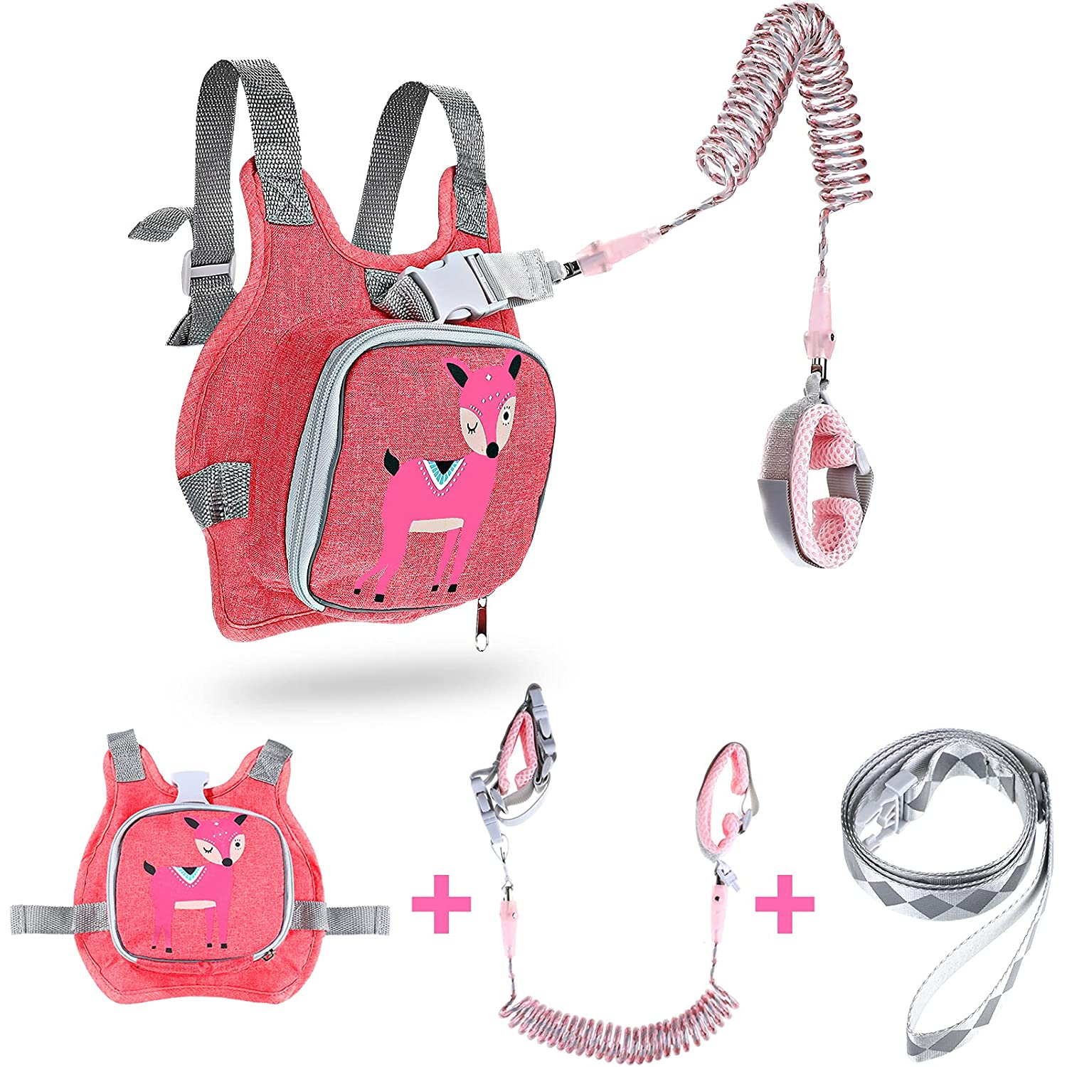 Halloween Safety Toddler Leash Backpack Child Harness Leash for Walking 3-in-1 Anti Lost Kids Wristband Safety Wrist Link for Children Toddlers Babies Kids Outdoor Activities