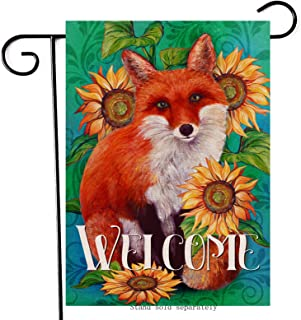 Artofy Fox Welcome Decorative Garden Flag, House Yard Lawn Summer Fall Sunflower Animal Decor Sign Flower Outdoor Small Bu...