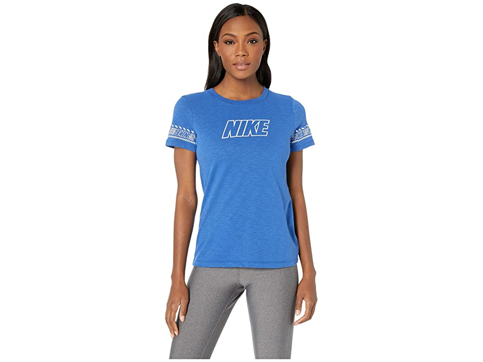 Nike Dry Dri-FIT Cotton Brand Slub Tee (Game Royal/Heather) Women