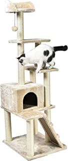 AmazonBasics Large Cat Tree With Multiple Towers - 24 x 61 x 19 Inches, Beige