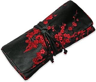 Jewelry Roll Clutch Large - Silk Brocade (Cherry Blsm Black&Red)