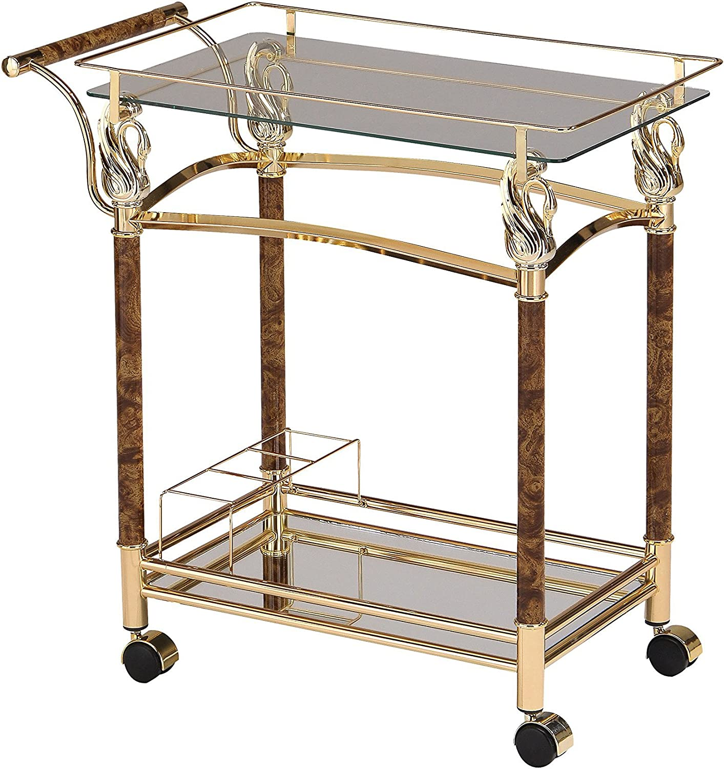 ACME Furniture 98002 Helmut Serving Gl Plated Golden Cart Clear Be Don't miss the campaign super welcome