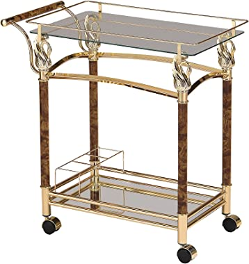 ACME Furniture 98002 Helmut Serving Cart, Golden Plated/Clear Glass