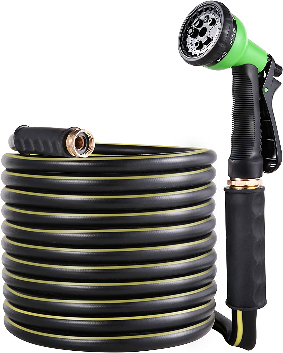 BUYOOKAY Garden Hose 30ft,Water Hose with 5/8'' Diameter Bronze Interface Saves Water Great for Car Wash,Garden Watering,Patio Lawn House Cleaning with 7 Function Spray Nozzle Flat Hose (5/8'' x 30ft)