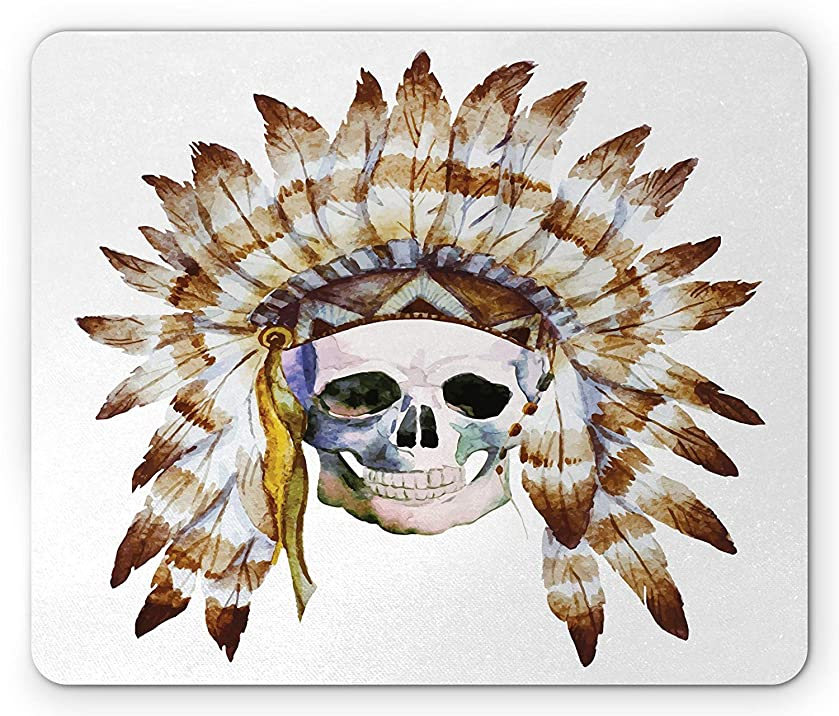 Skull Mouse Pad, Native American Skull Indigenous Dead Man Watercolor Image with Feathers Ethnic, Standard Size Rectangle Non-Slip Rubber Mousepad, Brown White