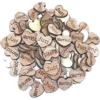 Just Married Wooden Hearts Shabby Chic Scrapbook Vintage Confetti 15mm Hearts