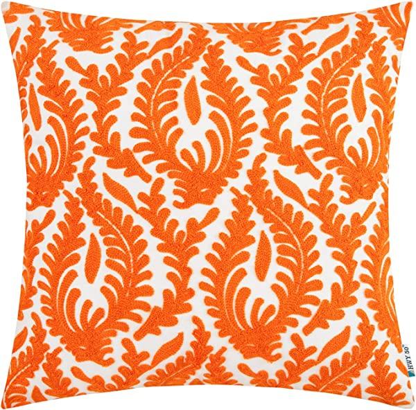 HWY 50 Decorative Embroidered Throw Pillow Covers Cushion Cases For Couch Sofa Bedroom Farmhouse Abstract Branches Orange 18x18 Inch 1 Piece