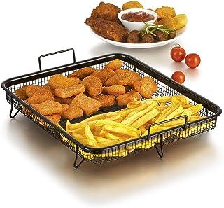 Gourmet Maxx–Cesta para horno (cesta de grill de acero inoxidable para cocinar con aire caliente sin grasa (rectangular 33x28x5cm), aluminio