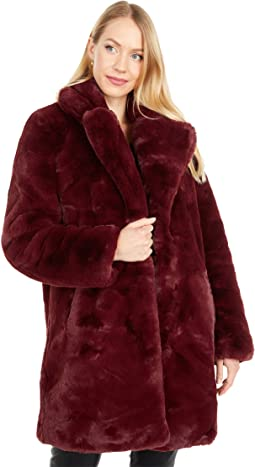 Sasha Long Faux Fur Coat with Collar
