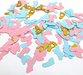 HEMARTY Pink Blue & Gold Confetti Cute Baby Feet Confetti for Home Kids Birthday Party Table Decoration Baby Shower Supplies 200 CT