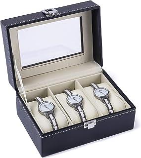 Hivory Watch Display & Organizer Box ~Organize & Protect Watches ~ Leather Watch Organizer ~ Display Glass Top Jewelry Cas...