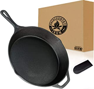 Backcountry Cast Iron Skillet(12 Inch Large Frying Pan + Cloth Handle Mitt, Pre-Seasoned for Non-Stick Like Surface, Cookware Oven/Broiler/Grill Safe, Kitchen Deep Fryer, Restaurant Chef Quality)