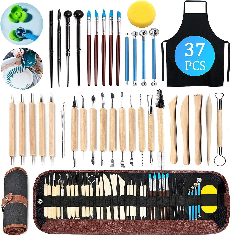 TWBEST Herramientas de escultura,37pcs Herramientas de Arcilla, herramientas de modelado,Herramientas Arcilla para arcilla,cerámica,obras de arte y manualidades navideñas