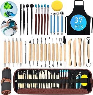 Outils de Sculpture,Outils de modelage 37pcs Outil de Poterie Sculpture Argile,Outils en Argile/Outils Sculpture pour Scul...