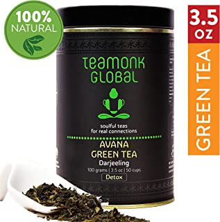 Teamonk Avana Darjeeling Detox Green Tea Loose Leaf (50 Cups)   Detox Tea   Tea for Detoxification   Pure Loose Leaf Tea   No Additives - 3.5oz