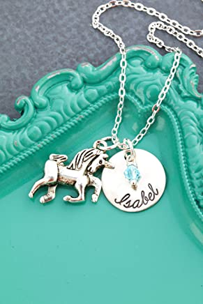 Personalized Unicorn Necklace – DII AAA - Little Girls Gift – Fantasy – 5/8 Inch 15MM Disc – Customize Birthstone – Fast 1 Day Production