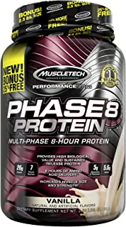 Muscletech Phase8 Protein Powder, Sustained Release 8-Hour Protein Shake, Vanilla, 2.5 Pounds