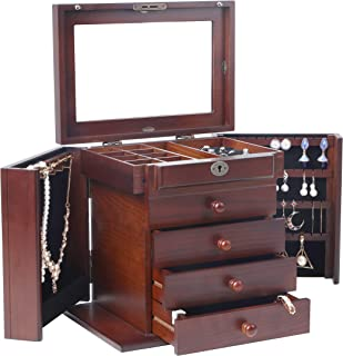 wooden jewellery box with lock