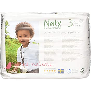 Naty by Nature Babycare Eco-Friendly Premium Disposable Diapers for Sensitive Skin, Size 3, 4 packs of 31 (124 Count) (Chemical, chlorine, perfume free)