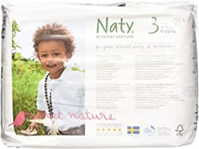 Naty by Nature Babycare Eco-Friendly Premium Disposable Diapers for Sensitive Skin, Size 3, 4 packs of 31 (124 Count) (Che...