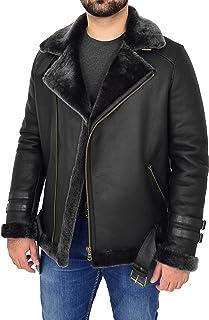 Mens Sheepskin Aviator Jacket Cross Zip Biker Shearling Style Alvin Black