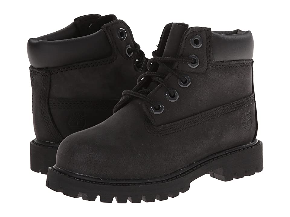 Timberland Kids 6 Premium Waterproof Boot Core (Toddler/Little Kid) (Black Nubuck) Boys Shoes