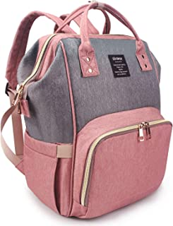 Qimiaobaby Diaper Bag Backpack Multi-Function Large Capacity Waterproof Insulation Travel Bag, Baby Nappy Storage Bag, Fashion Mummy Bag (Pink Gray)