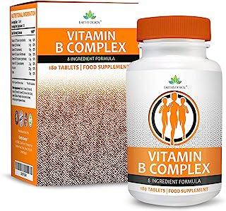 Vitaminas Complejo B - Vit B1 B2 B3 B5 B6 B12 - Con Biotina y Ácido Fólico - Para Hombres y Mujeres - Apto Vegetarianos - 180 Pastillas (Suministro Para 6 Meses)