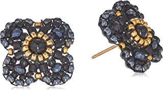 Miguel Ases Women's Onyx Center 3D Gerbera Daisy Post Drop Earrings