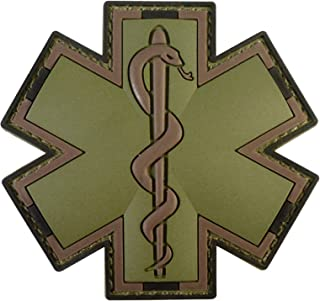 LEGEEON Olive Drab Multicam OD EMS EMT Medic Paramedic Star Life Morale PVC Touch Fastener Patch