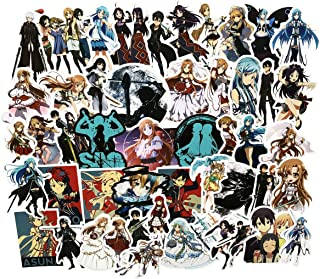 50pcs Sword Art Online Anime Sticker Laptop Vinyl Stickers for Waterbottle,Hydro Flask,Snowboard,Luggage,Motorcycle,Wall,DIY Party Supplie Patches Decal (SAO 50)