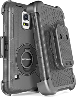 BENTOBEN Galaxy S5 Case, Galaxy S5 Case, Hybrid Protective Shockproof Soft Rubber&Hard Case with Rotating Kickstand Belt Clip Holster Cover Case for Samsung Galaxy S5 S V I9600 GS5 All Carriers, Black