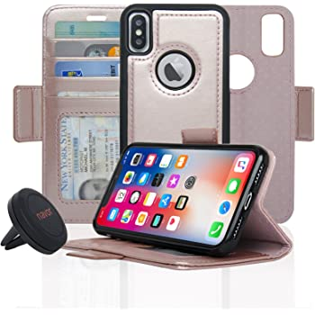 JOOT-1L Series RFID Theft Protection Rose Gold Navor Detachable Magnetic Wallet Case /& Universal Car Mount Compatible for iPhone 7 /& 8