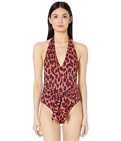 Stella McCartney Ballet Leopard Print Halter Tie Front One-Piece (Pink Leopard) Women