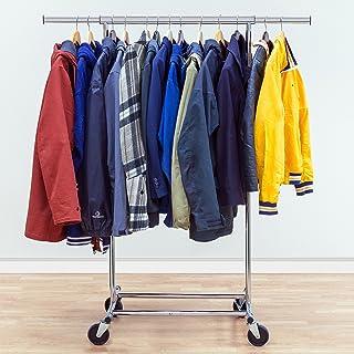 Tatkraft Darren – Portant à Vêtements Commercial Pliable en Acier Chromé – Penderie pour Vêtements avec Roulettes Robuste ...