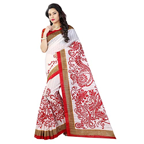 35b4f314a1 Sugathari Sarees Women's White And Black Mysore Bhagalpuri Art Silk Saree  (BHAGALPURI SAREES 20 Sugathari