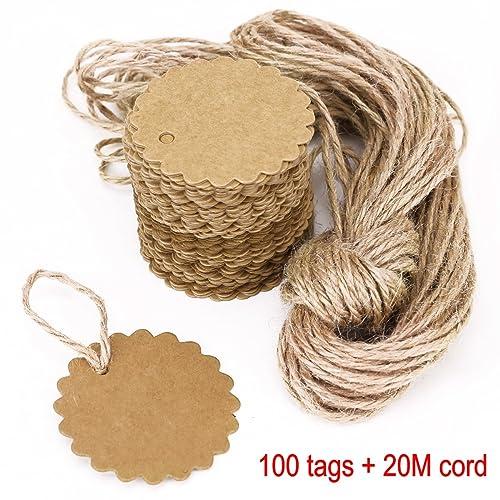 100/x da WA papel Kraft etiquetas de regalo en blanco etiqueta papel boda etiquetas etiquetas con 2/metros de cordel de yute forma de coraz/ón