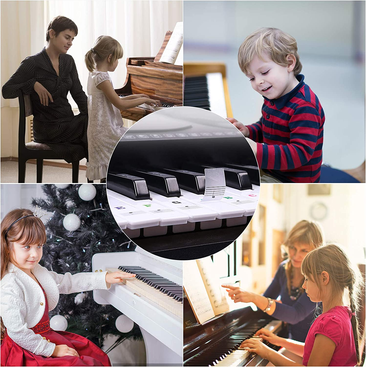 A Electronic Keyboards Sticker for Kids Beginner child Piano Key Stickers for 37//49//54//61//88 Keys VEGCOO 2 Pack Piano and Keyboard Music Note Full Set Stickers