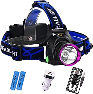 WOLFTEETH 1800 Lumens XM-L T6 LED Headlamp Waterproof 3 Modes LED Headlight + 2 x 18650 Rechargeable Battery + Car Charger