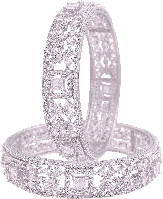 I Jewels 18K Rhodium Plated 卓越 AL完売しました。 Thick Bangles CZ Encased Brass With